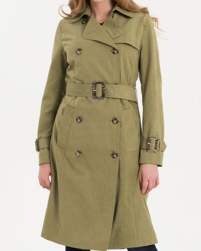 Зеленый приталенный тренчкот с воротником Lab Fashion