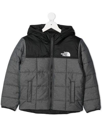 Серая классическая куртка с капюшоном на молнии The North Face Kids