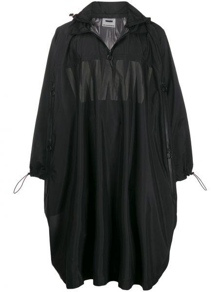 Черное длинное пальто на молнии Wwwm
