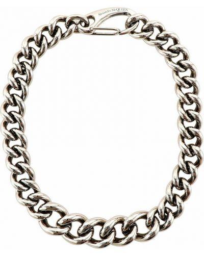 Naszyjnik łańcuch srebrny - szary Alexander Mcqueen