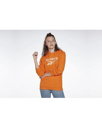 Pomarańczowa bluza kangurka z kapturem bawełniana Reebok