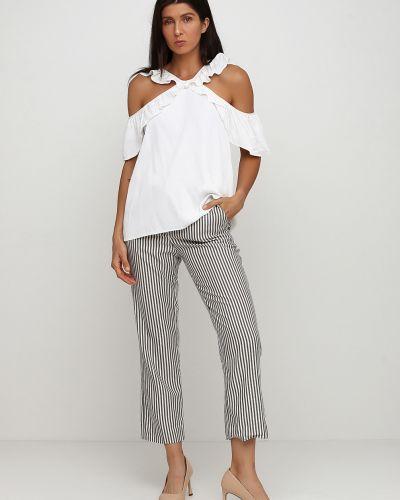 Белые укороченные брюки Massimo Dutti