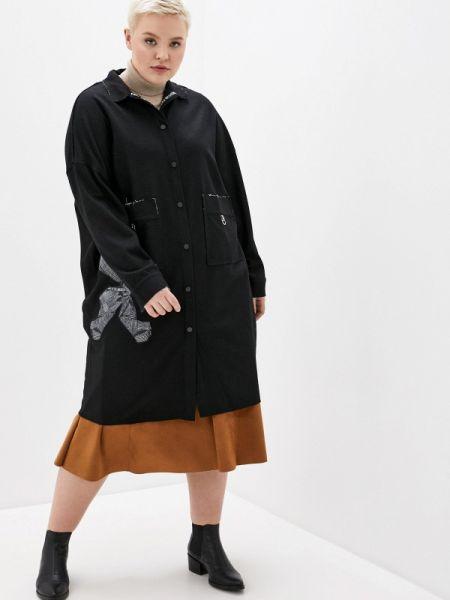 Черное пальто с капюшоном Joymiss