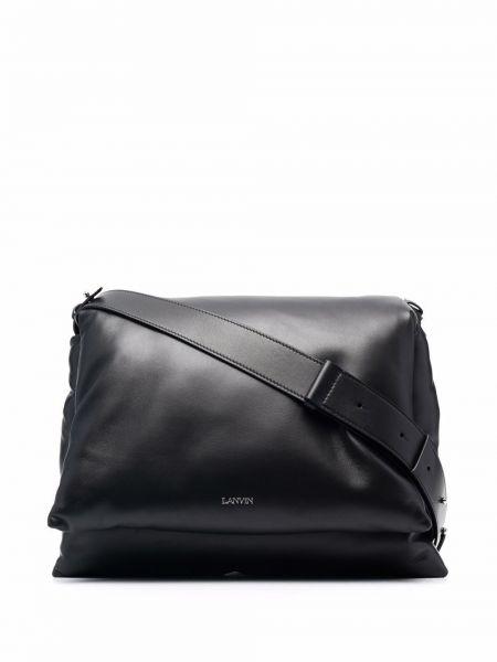 Czarna torba na ramię skórzana Lanvin