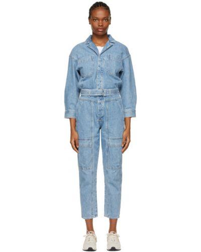 Синий джинсовый комбинезон с карманами с длинными рукавами Citizens Of Humanity
