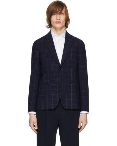 С рукавами синий удлиненный пиджак с карманами Giorgio Armani