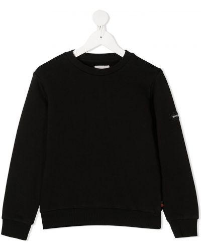 С рукавами черный свитшот круглый с круглым вырезом Woolrich Kids