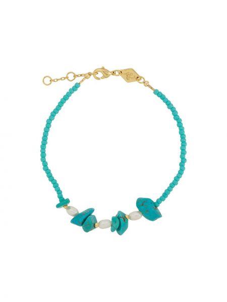 Золотистый синий браслет с камнями Anni Lu
