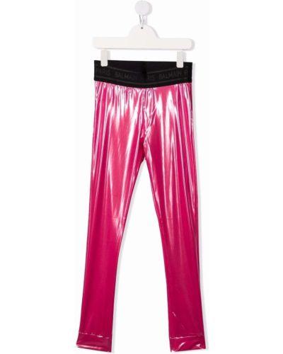 Różowe legginsy Balmain Kids
