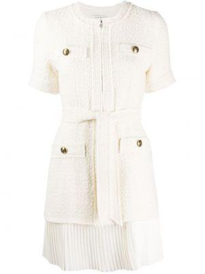Плиссированное платье мини на пуговицах со складками твидовое Sandro Paris