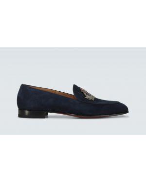 Туфли бархатные с вышивкой Christian Louboutin
