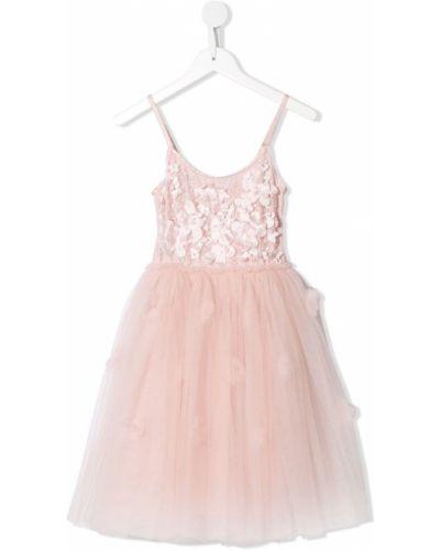 Розовое пышное платье с вырезом круглое сетчатое Tutu Du Monde