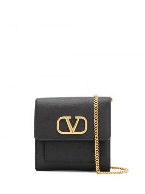 Золотистая черная кожаная сумка через плечо Valentino