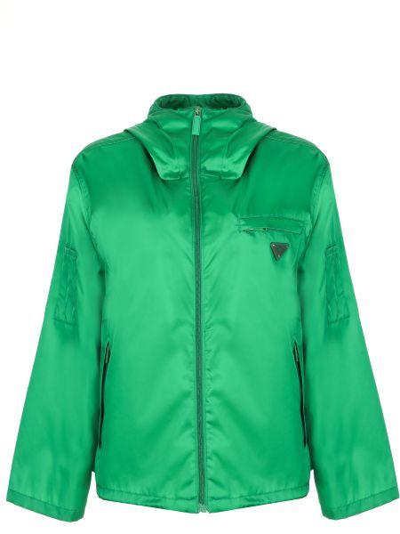 Зеленая облегченная свободная куртка с капюшоном на молнии Prada