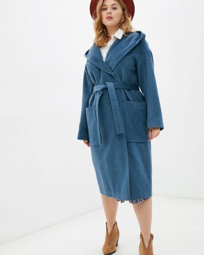 Бирюзовое пальто двубортное синар