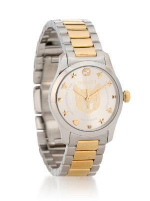Часы на металлическом браслете желтый Gucci
