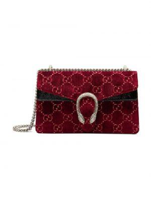 Красная бархатная маленькая сумка на молнии с декоративной отделкой Gucci