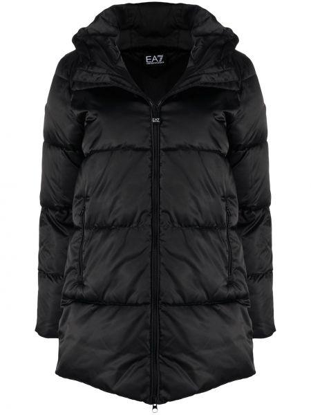 Klasyczny czarny płaszcz z kapturem Ea7 Emporio Armani