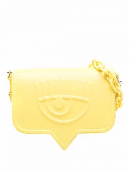 Żółta torebka na łańcuszku skórzana Chiara Ferragni
