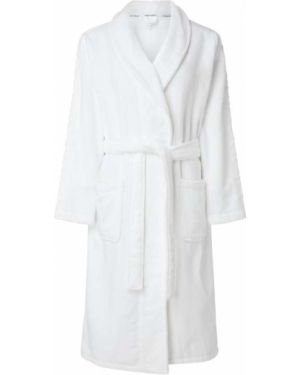 Biały szlafrok bawełniany z haftem Calvin Klein Underwear
