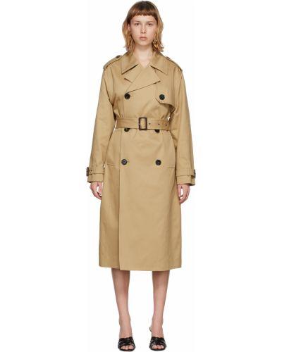 Бежевое пальто на пуговицах Saint Laurent
