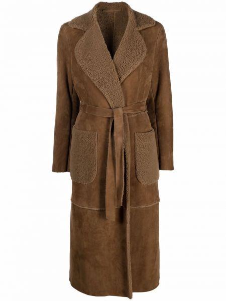 Пальто из овчины - коричневое Salvatore Santoro