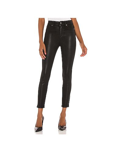 Хлопковые черные джинсы-скинни с карманами на молнии 7 For All Mankind
