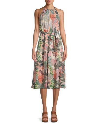 Шелковое платье с поясом с принтом без рукавов Parker