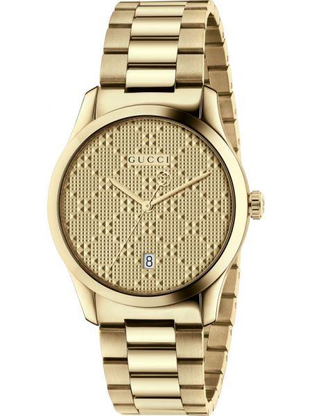 Золотистые серые кварцевые часы Gucci