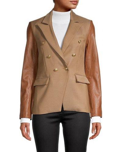 Кожаный черный удлиненный пиджак с длинными рукавами Generation Love