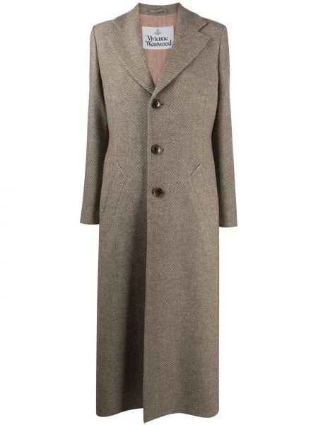 С рукавами коричневое шерстяное длинное пальто Vivienne Westwood
