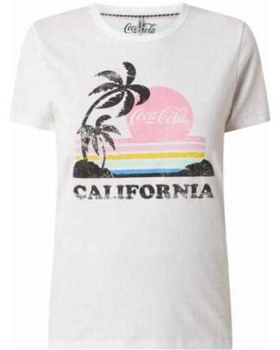 Biała t-shirt bawełniana z printem Only