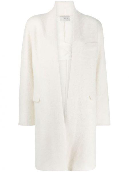 Белое длинное пальто из альпаки с карманами Laneus