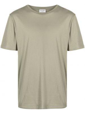 Zielony bawełna koszula krótkie rękawy z haftem Saint Laurent