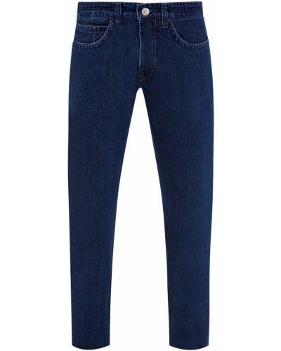 Хлопковые облегающие синие джинсы классические Cudgi