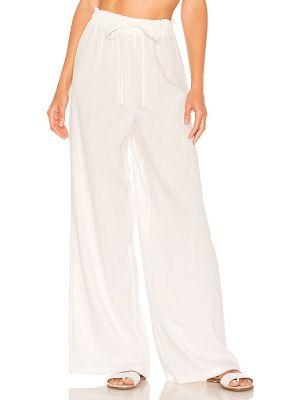 Льняные белые брюки до середины колена Lovewave