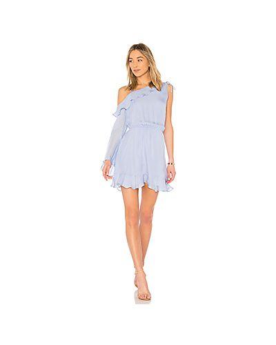 Платье с поясом голубой со складками Parker