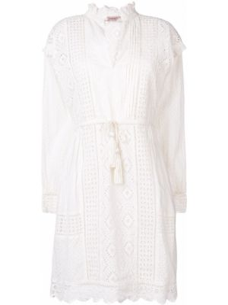 Хлопковое белое платье с вышивкой на молнии Twin-set