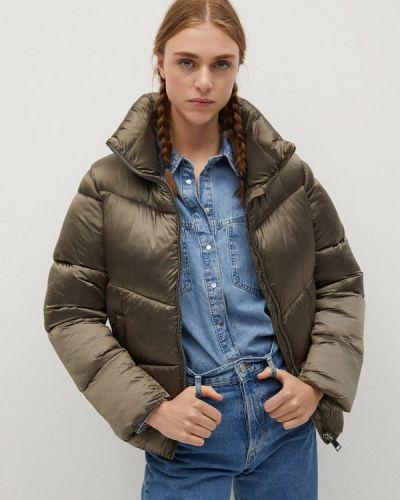 Серая теплая куртка Mango