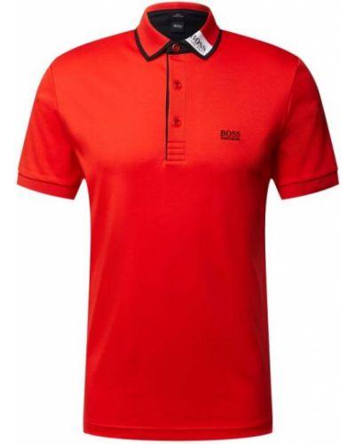Prążkowany pomarańczowy t-shirt bawełniany Boss Athleisurewear