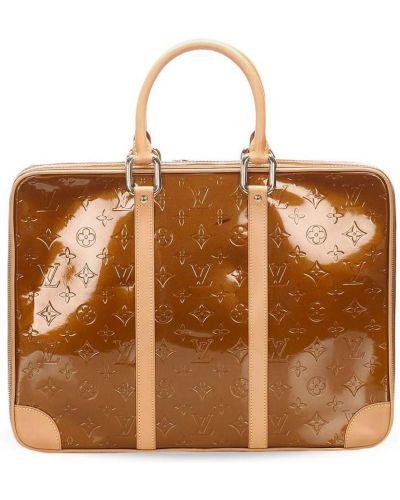 Skórzany brązowy teczka z kieszeniami z ozdobnym wykończeniem Louis Vuitton