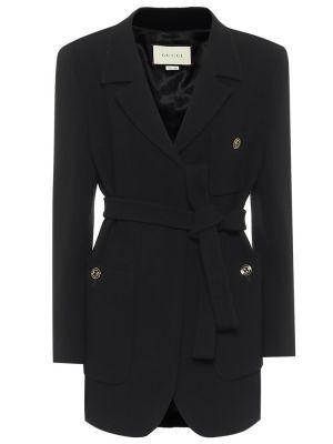 Шерстяная черная куртка винтажная Gucci