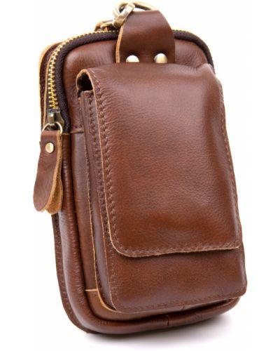 Кожаная поясная сумка - коричневая Vintage