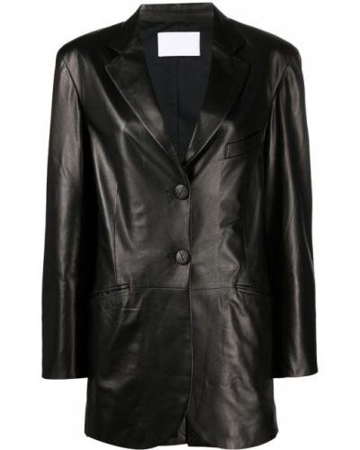 Черный кожаный удлиненный пиджак оверсайз Drome