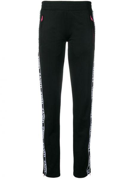 Черные спортивные брюки с воротником с карманами на молнии Versus