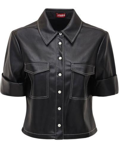 Кожаная рубашка на пуговицах с отворотом Staud