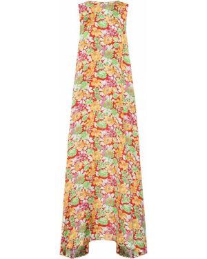 Платье макси розовое с цветочным принтом Plan C