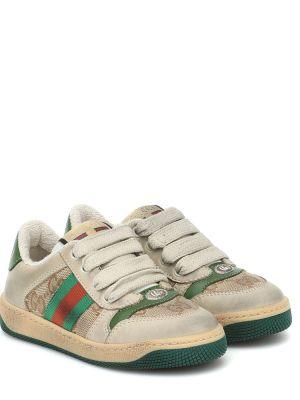 Skórzany zielony sneakersy Gucci Kids