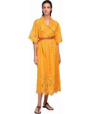 Оранжевое льняное платье миди с воротником с карманами Vita Kin