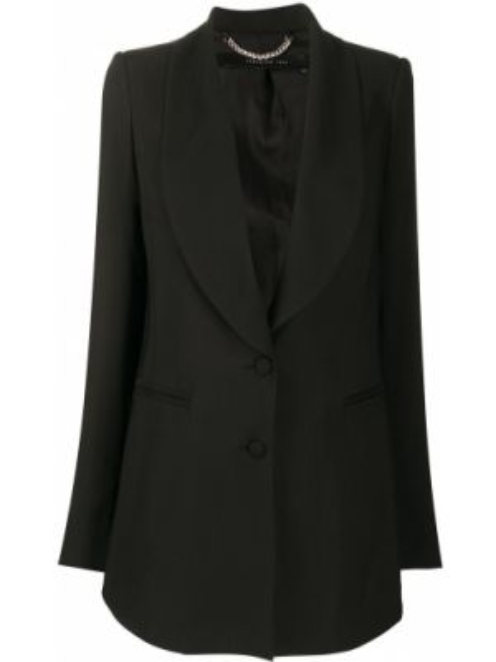 Однобортный черный удлиненный пиджак с карманами Federica Tosi